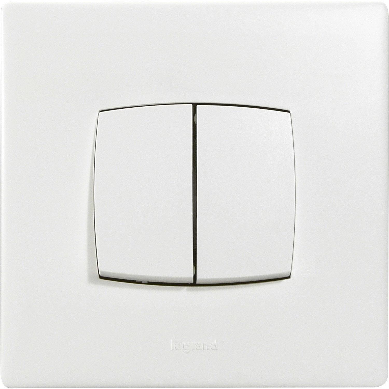 double interrupteur va et vient encastrable blanc legrand. Black Bedroom Furniture Sets. Home Design Ideas