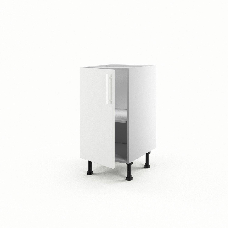 Meuble de cuisine bas blanc 1 porte d lice h70xl40xp56 cm - Bas de porte leroy merlin ...