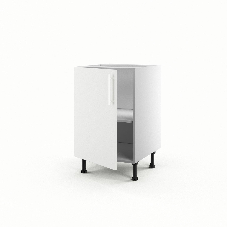 Meuble de cuisine bas blanc 1 porte d lice h70xl50xp56 cm - Bas de porte leroy merlin ...