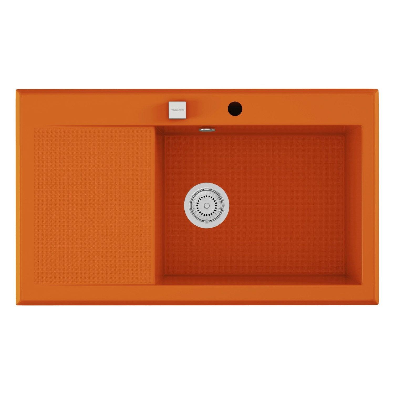 Evier encastrer quartz et r sine orange shira 1 bac for Bac resine piscine