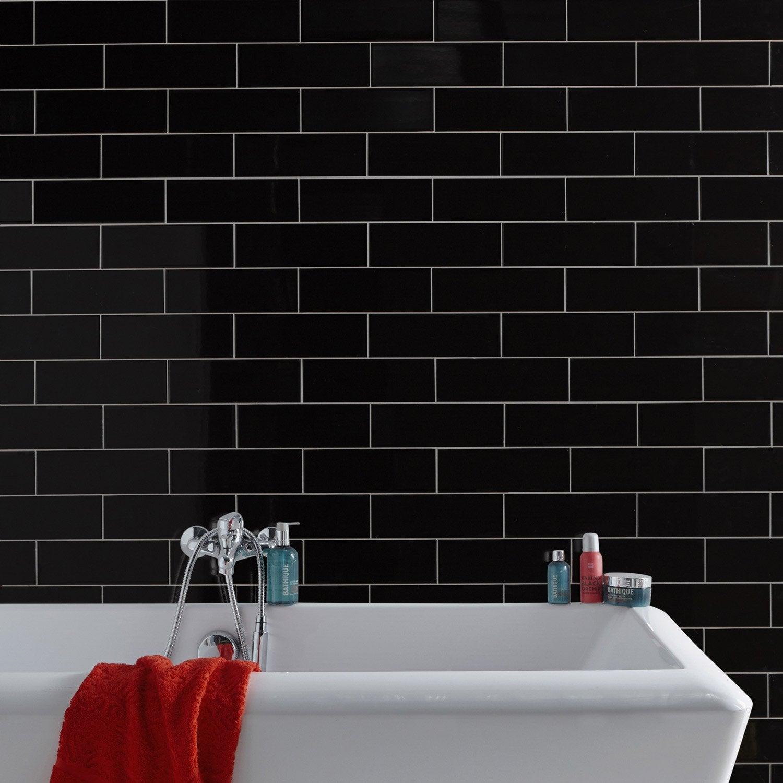 Fa ence mur noir basic briquette x cm leroy for Faience adhesive leroy merlin