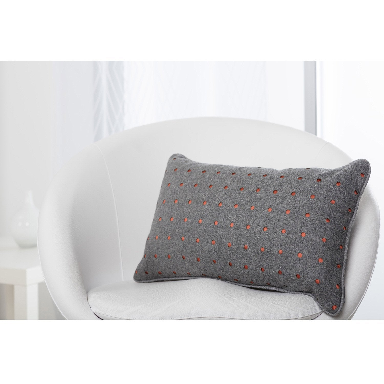 coussin jessy gris galet n 3 x cm leroy merlin. Black Bedroom Furniture Sets. Home Design Ideas