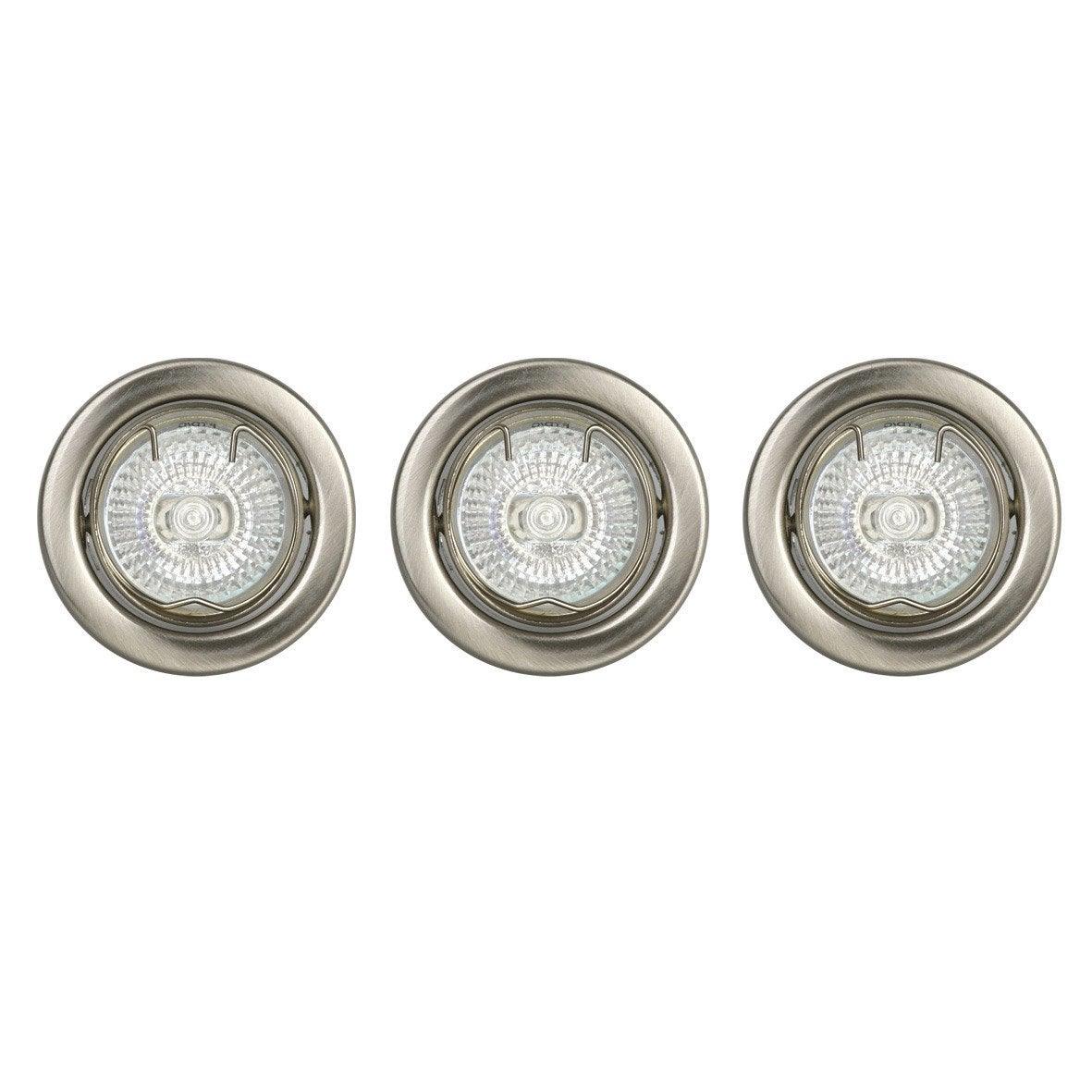 Kit 3 spots encastrer luce fixe halog ne inspire g4 for Placchette luce leroy merlin