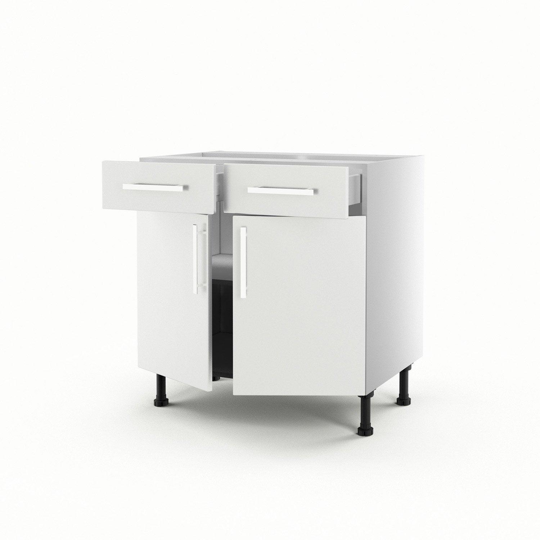 Meuble de cuisine bas blanc 2 portes 2 tiroirs d lice h - Meuble cuisine leroy merlin blanc ...