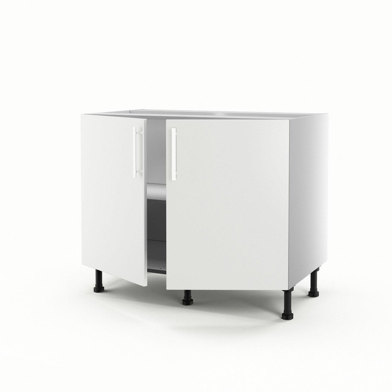 Meuble de cuisine bas blanc 2 portes d lice x x for Meuble cuisine bas blanc