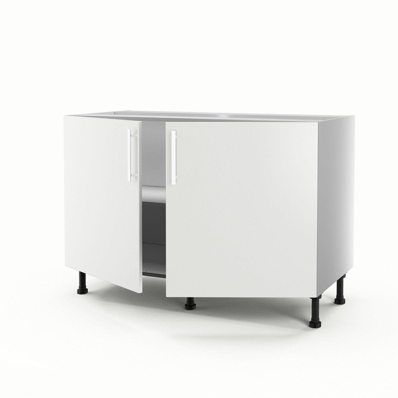 Meuble de cuisine sous vier blanc 2 portes d lice x x cm l - Leroy merlin meuble sous evier ...