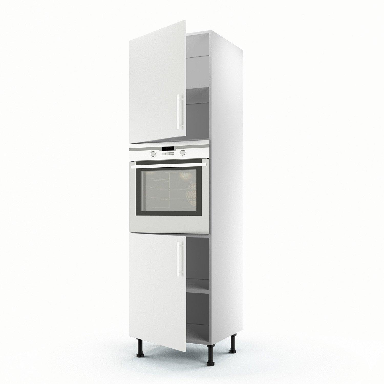 Meuble de cuisine colonne blanc 2 portes d lice x l - Colonne cuisine 50 cm largeur ...