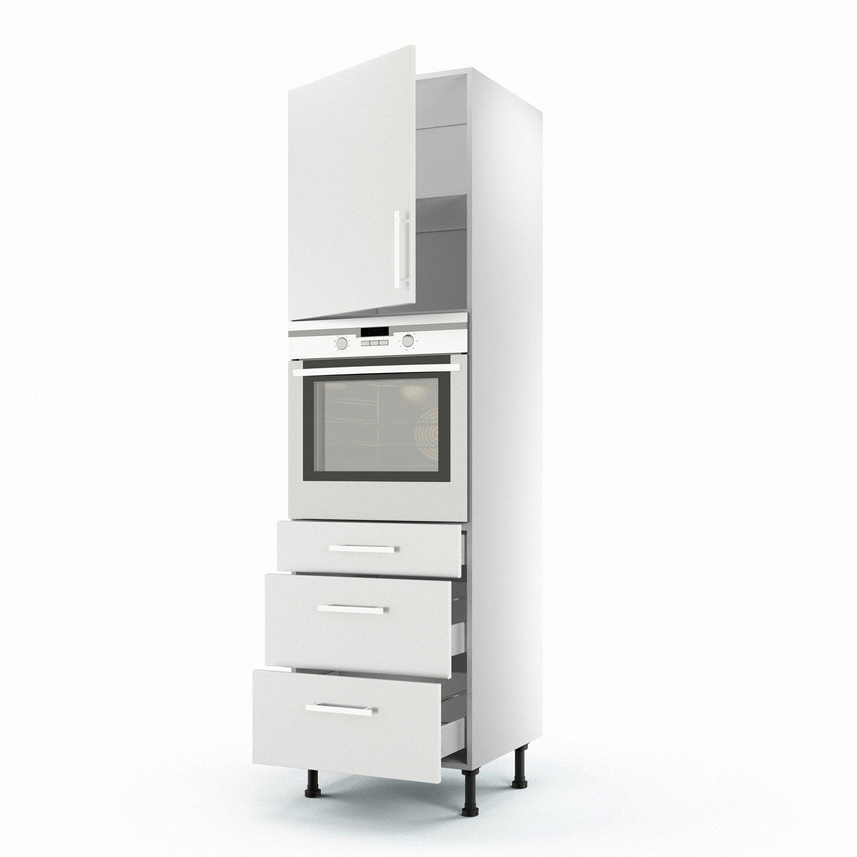 Colonne blanc 1 porte 3 tiroirs d lice h200xl60xp56 cm for Cuisine 3d leroy merlin ne fonctionne pas