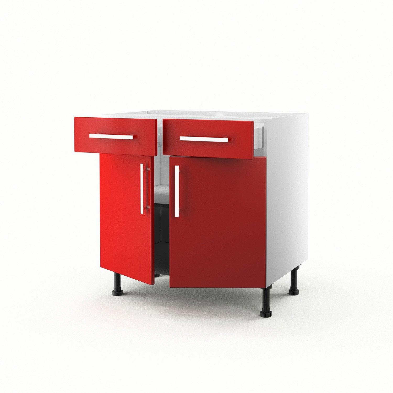 Meuble de cuisine bas rouge 2 portes 2 tiroirs d lice h for Meuble cuisine bas 2 portes