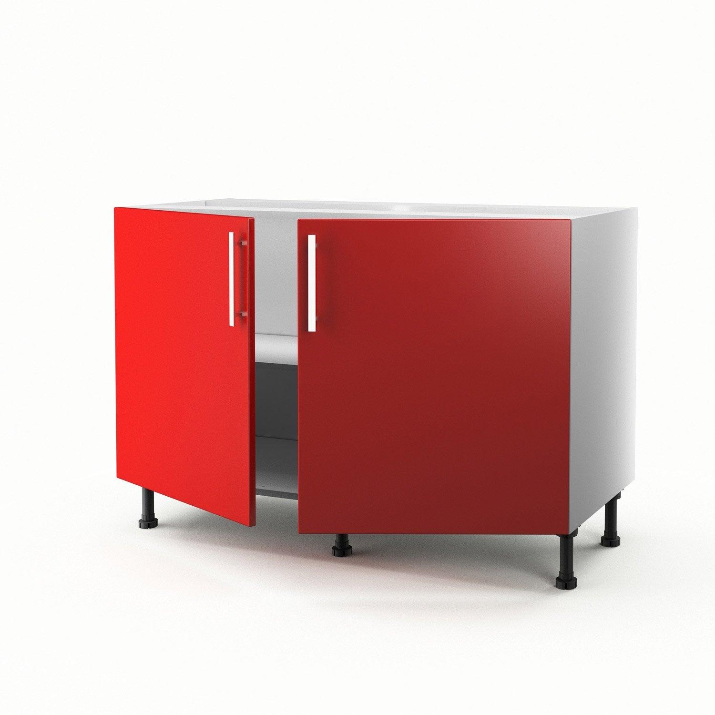 Meuble de cuisine sous vier rouge 2 portes d lice - Cuisine delice leroy merlin ...
