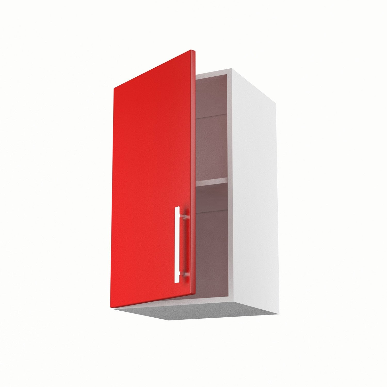 Meuble de cuisine haut rouge 1 porte d lice x x for Meuble cuisine haut leroy merlin