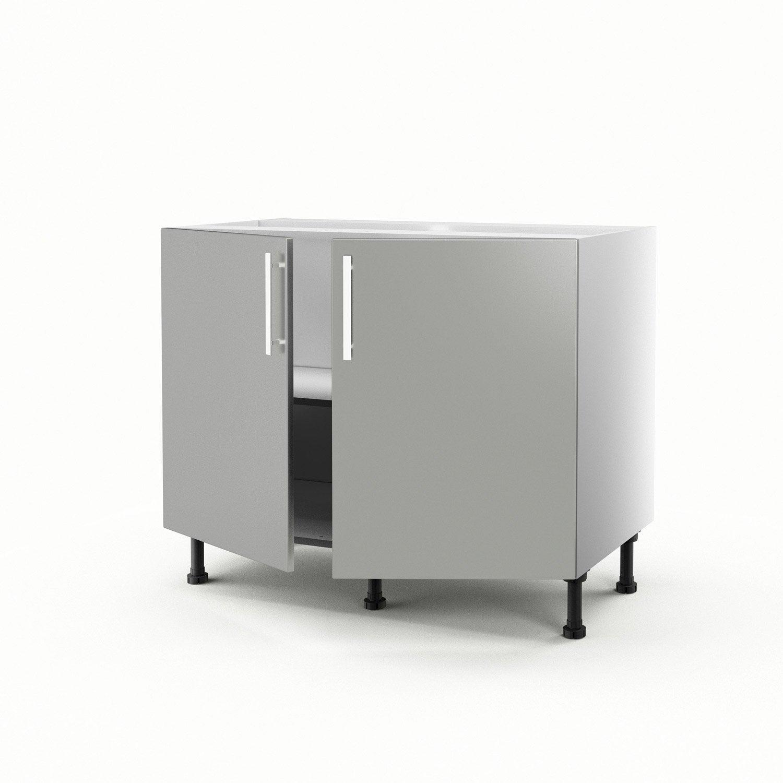 meuble de cuisine bas gris 2 portes délice h.70 x l.100 x p.56 cm