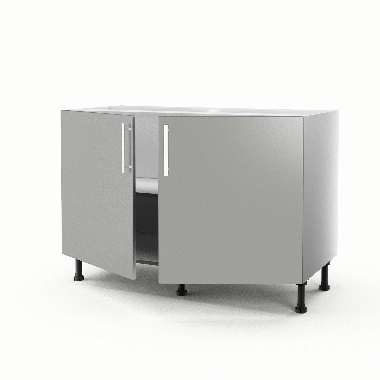 Porte coulissante m meuble de cuisine sous vier gris for Meuble bas cuisine porte coulissante