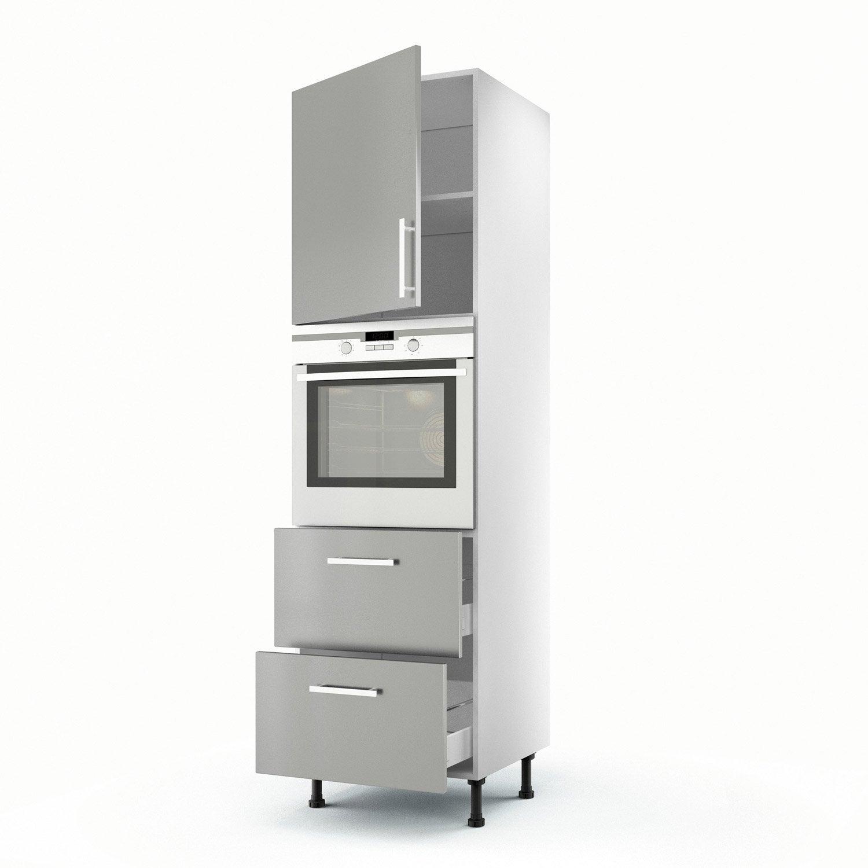 Meuble de cuisine colonne gris 1 porte 2 tiroirs d lice for Porte 60 x 200