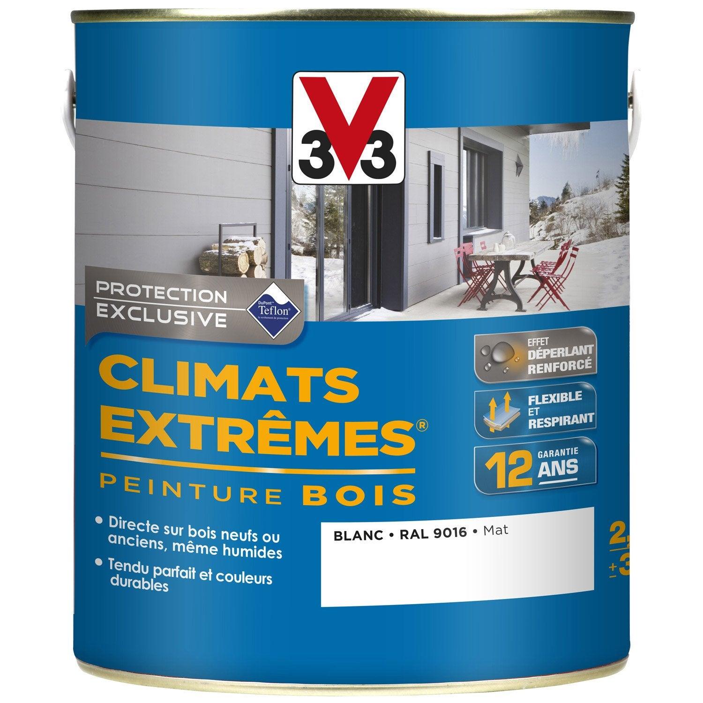Peinture bois ext rieur climats extr mes v33 blanc 2 5 l for Peinture bois exterieur