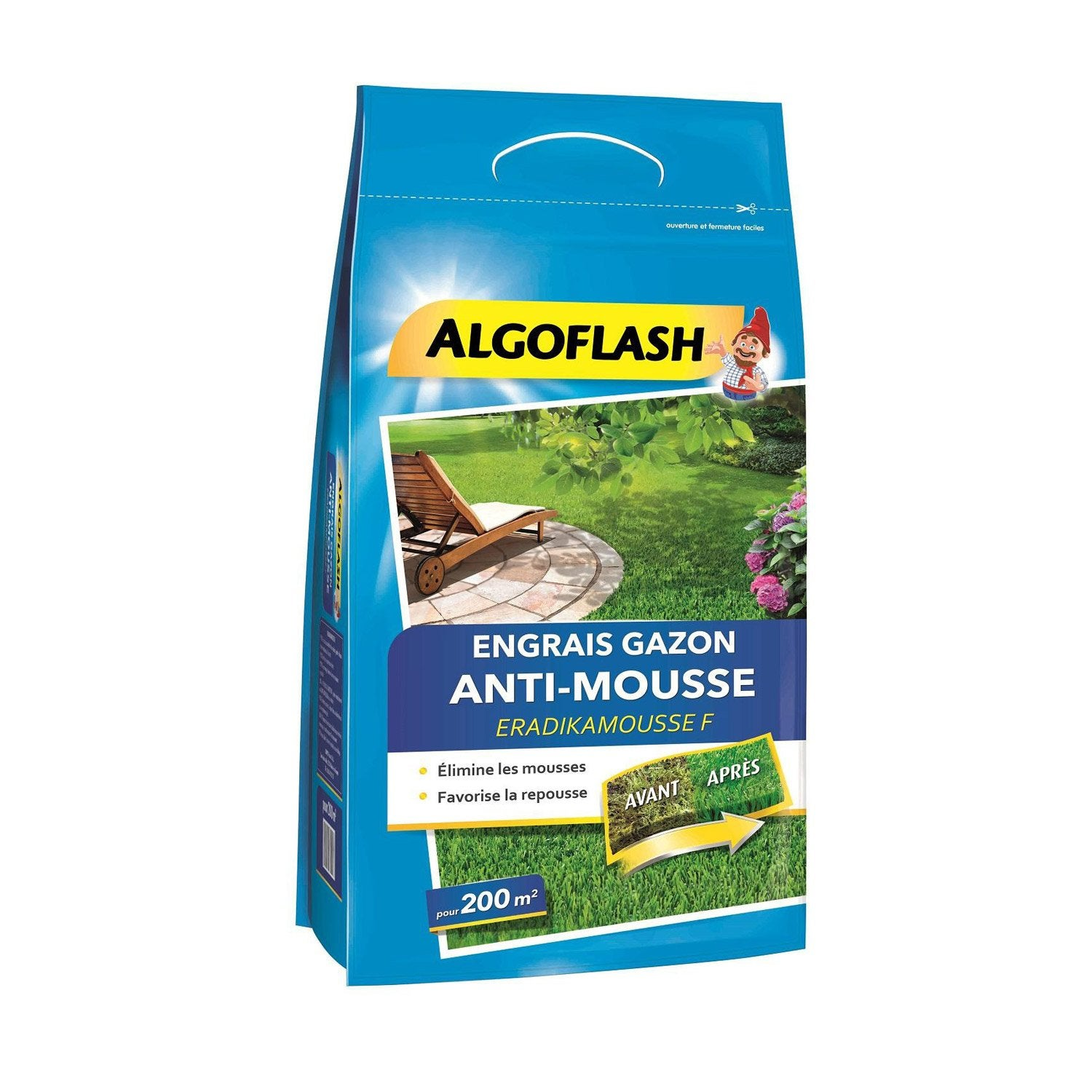 Engrais gazon antimousse algoflash 6kg 200 m leroy merlin - Produit anti mousse gazon ...