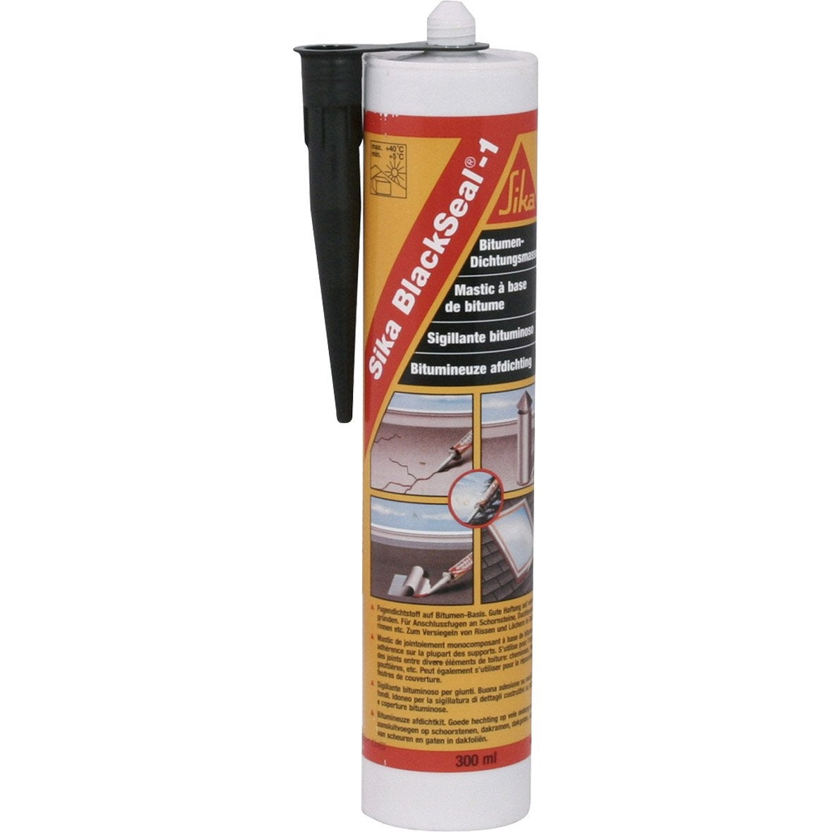 mastic toiture noir sika blackseal 300 ml leroy merlin. Black Bedroom Furniture Sets. Home Design Ideas