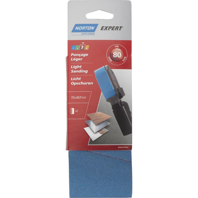 2 bandes abrasives norton pour ponceuse bande 75x457 mm. Black Bedroom Furniture Sets. Home Design Ideas