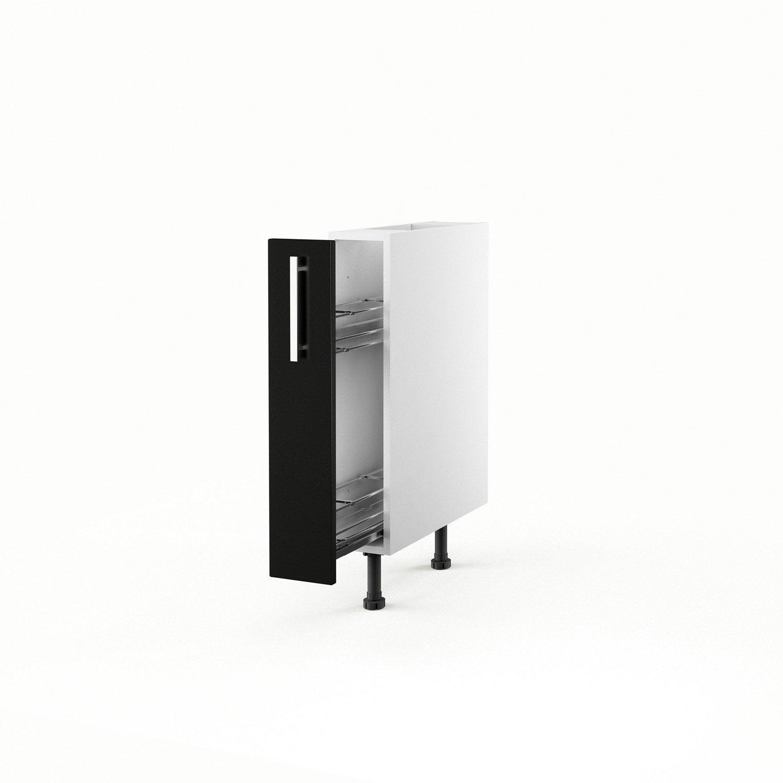 Meuble de cuisine bas noir 1 porte d lice h70xl15xp56 cm - Bas de porte leroy merlin ...