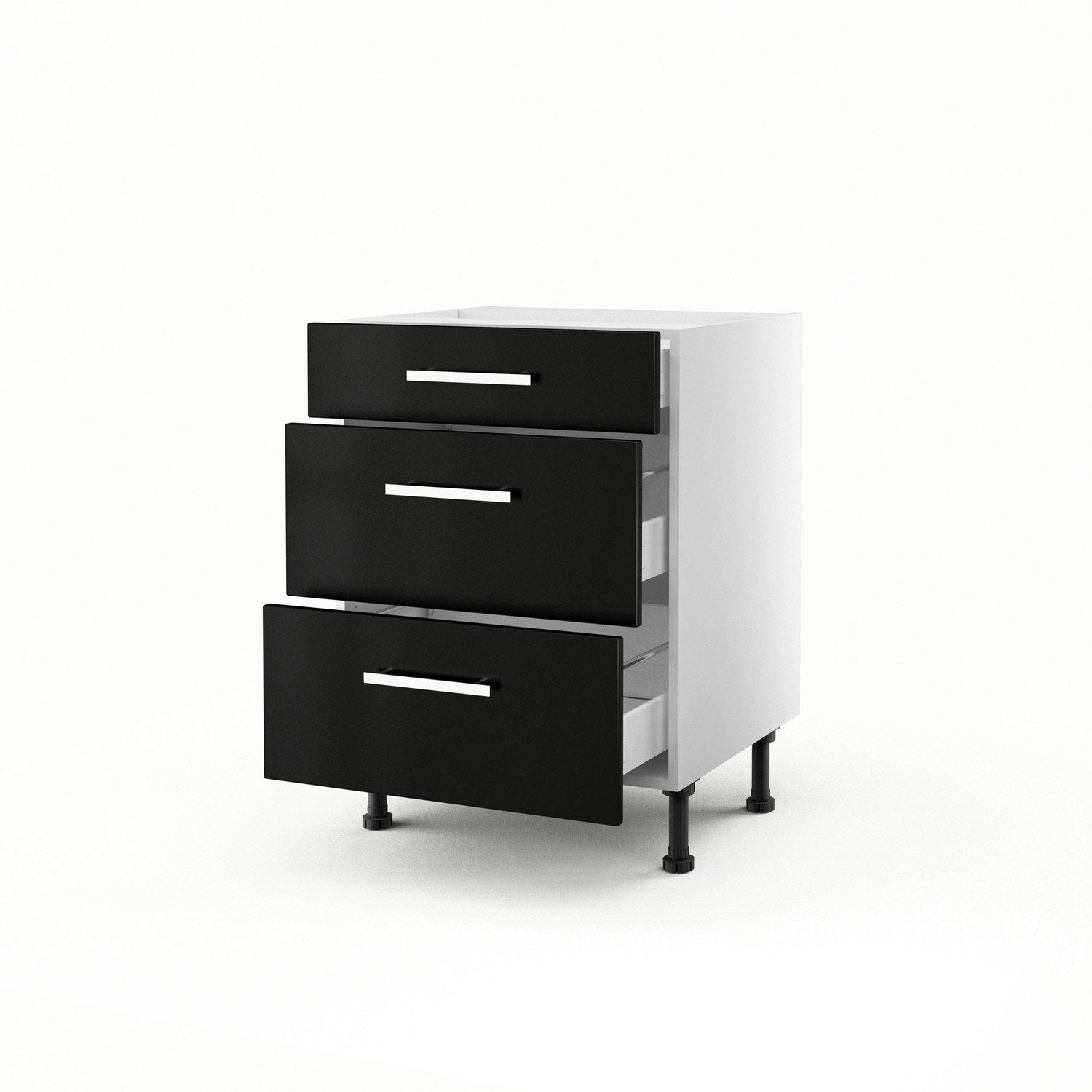 meuble de cuisine bas noir 3 tiroirs d lice x x cm leroy merlin. Black Bedroom Furniture Sets. Home Design Ideas