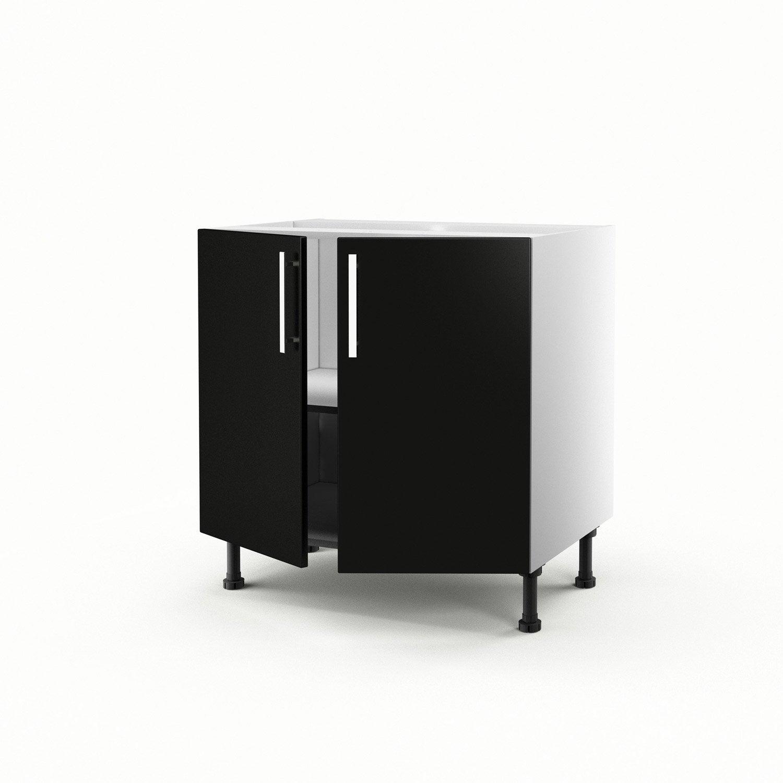 Meuble de cuisine bas noir 2 portes d lice x x p for Meuble bas noir