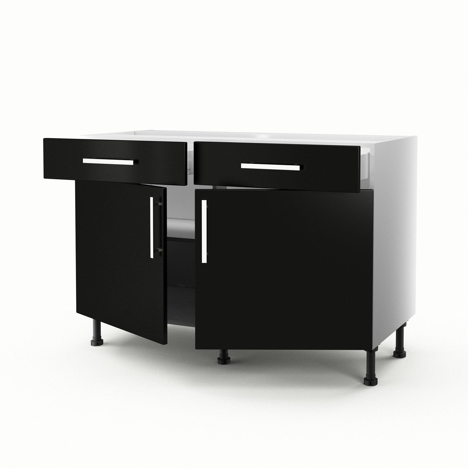 meuble de cuisine bas noir 2 portes 2 tiroirs d lice x x cm leroy merlin. Black Bedroom Furniture Sets. Home Design Ideas