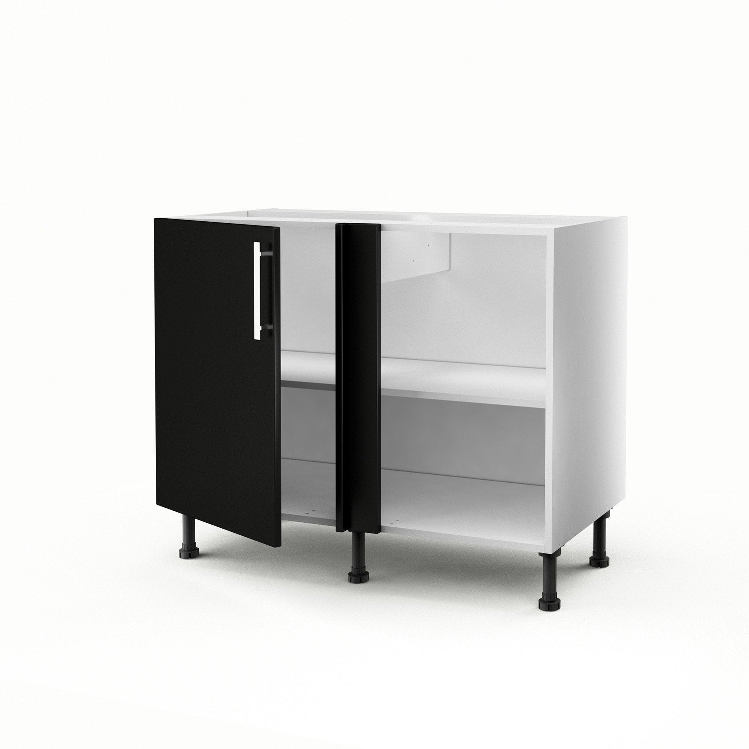 meuble de cuisine bas d 39 angle noir 1 porte d lice h70xl100xp56 cm leroy merlin. Black Bedroom Furniture Sets. Home Design Ideas