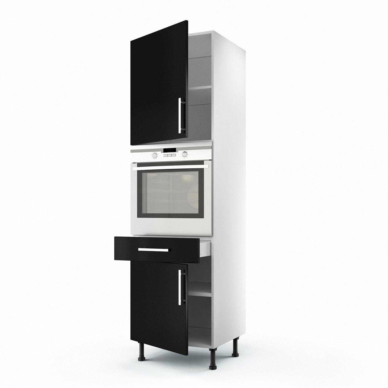 Meuble de cuisine colonne noir 2 portes 1 tiroir d lice for Meuble 2 portes noir