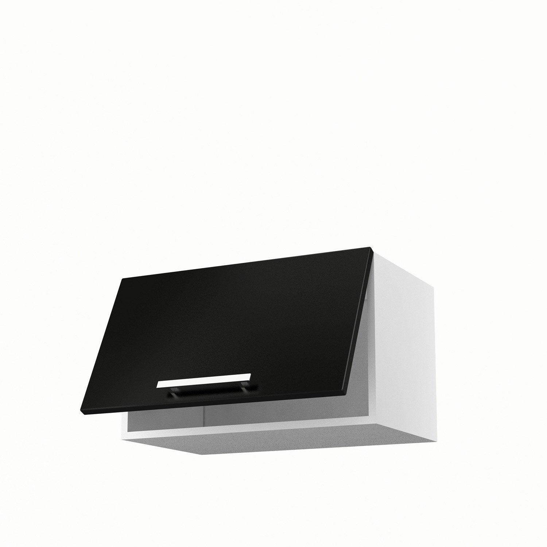 Meuble de cuisine haut noir 1 porte d lice x x p for Meuble haut porte pliante