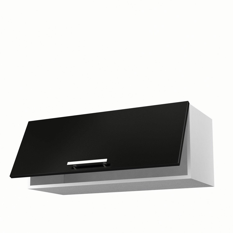 Meuble de cuisine haut noir 1 porte d lice x x p - Meuble haut cuisine noir laque ...