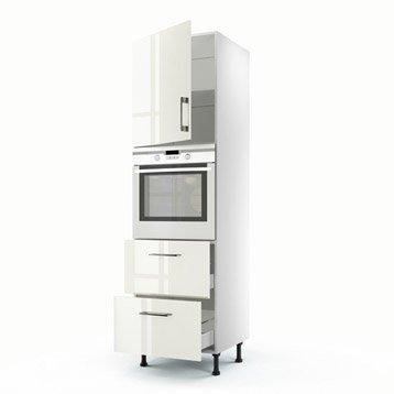 Meuble de cuisine colonne beige 1 porte + 2 tiroirs Perle H.200 x l.60 x P.56 cm