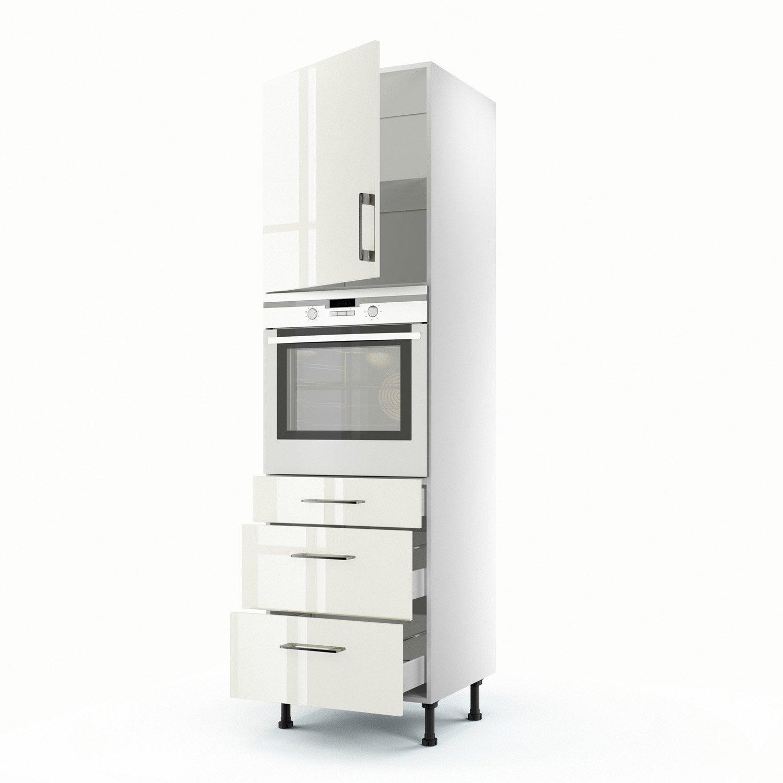 meuble de cuisine colonne beige 1 porte 3 tiroirs perle. Black Bedroom Furniture Sets. Home Design Ideas