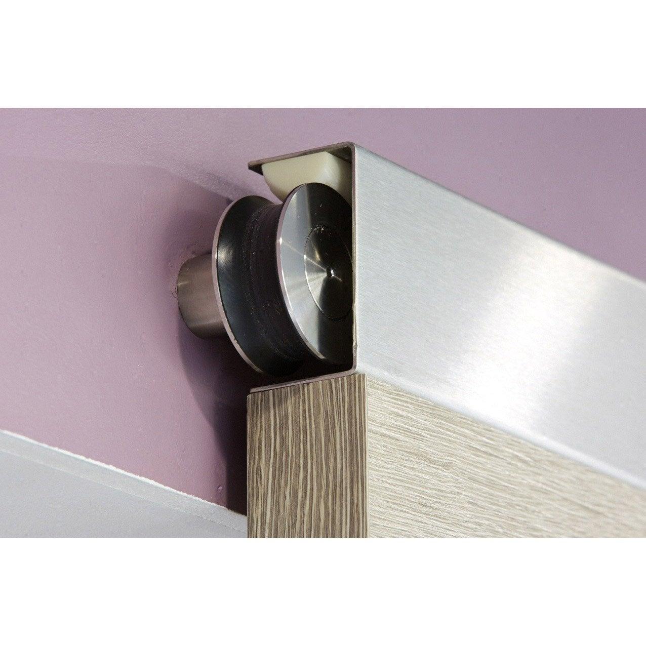 Rail coulissant jetset bois pour porte de largeur 83 cm for Porte de placard coulissante suspendue