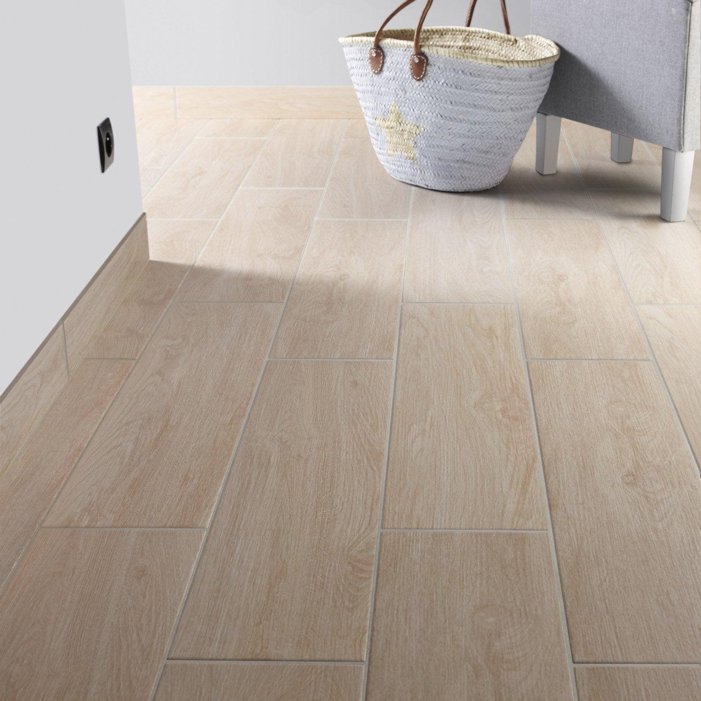 Carrelage sol et mur naturel effet bois helsinki x for Carrelage bois leroy merlin