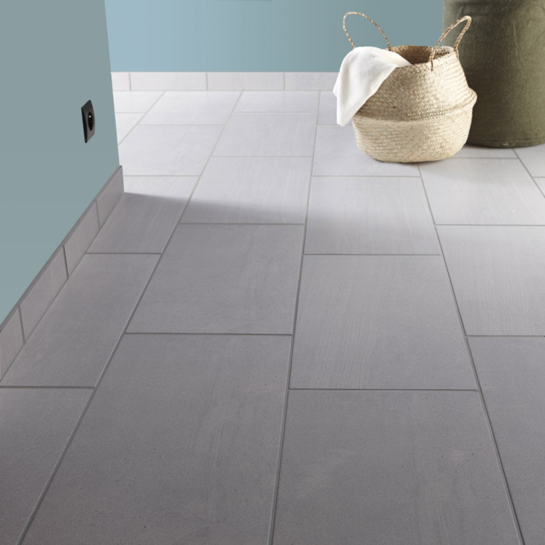 Carrelage sol et mur gris perle effet pierre florence for Murs cuisine gris perle