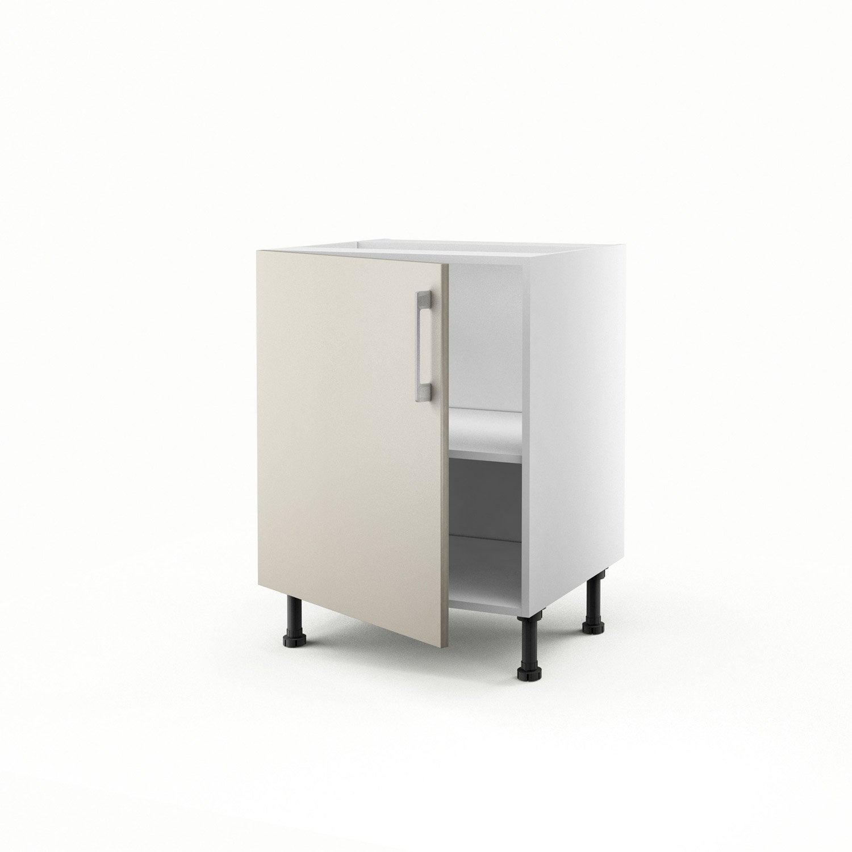 Meuble de cuisine bas gris 1 porte topaze h70xl60xp56 cm - Bas de porte leroy merlin ...