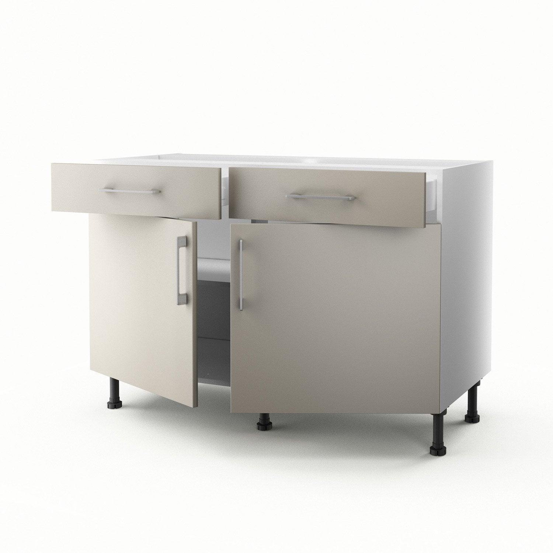 meuble de cuisine bas gris 2 portes 2 tiroirs topaze h70xl120xp56 cm leroy merlin. Black Bedroom Furniture Sets. Home Design Ideas