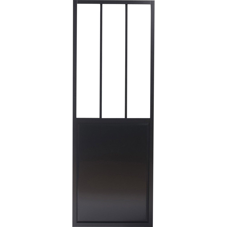 Porte coulissante aluminium noir fonc verre tremp - Leroy merlin porte coulissante verre ...