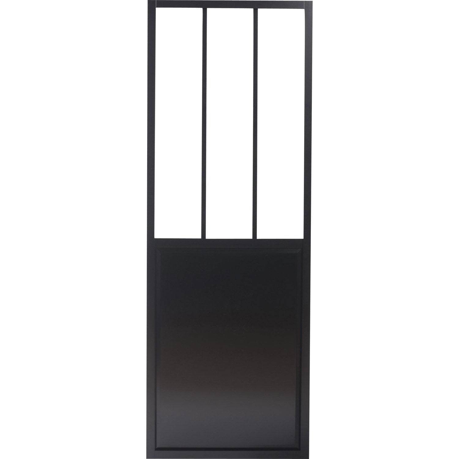 Porte coulissante aluminium noir fonc verre tremp for Leroy merlin porte interieur