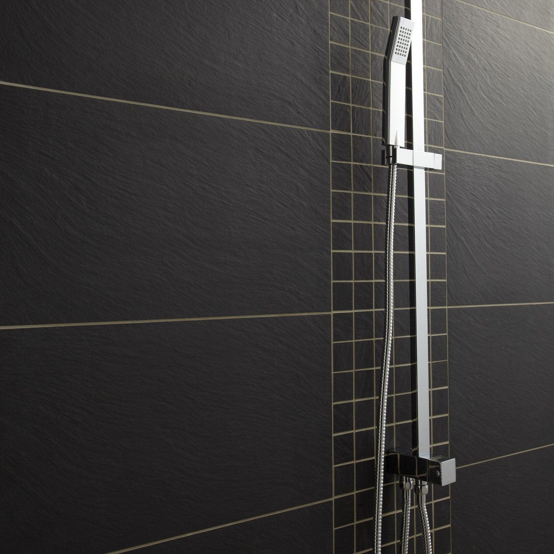 Carrelage sol et mur noir vesuvio x cm leroy for Salle de bain carrelage noir