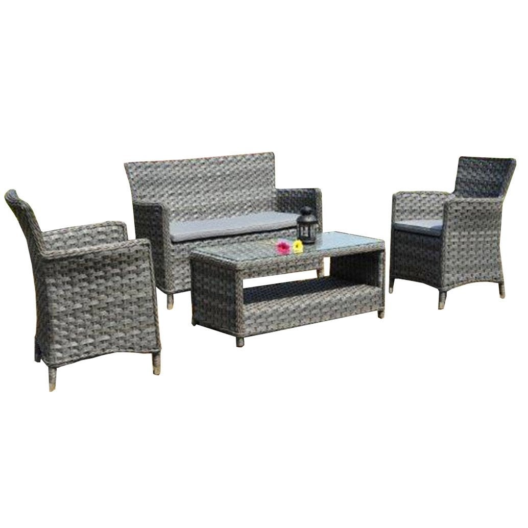 Salon de jardin naples r sine tress e gris vieilli table canap 2 fauteuils - Leroy merlin table jardin ...