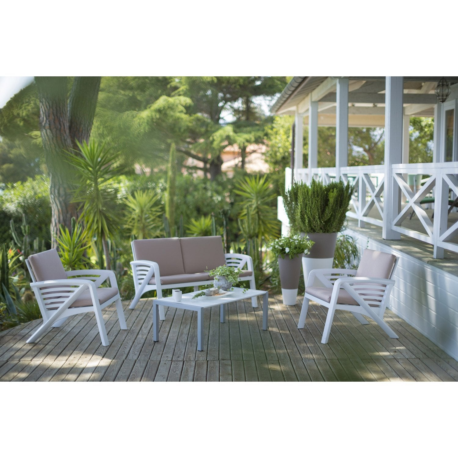 Salon bas de jardin sunday r sine plastique table - Salon de jardin leroy merlin resine ...
