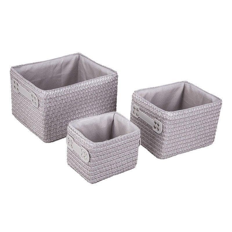 lot de 3 paniers en plastique gris gris 4 paille leroy merlin. Black Bedroom Furniture Sets. Home Design Ideas