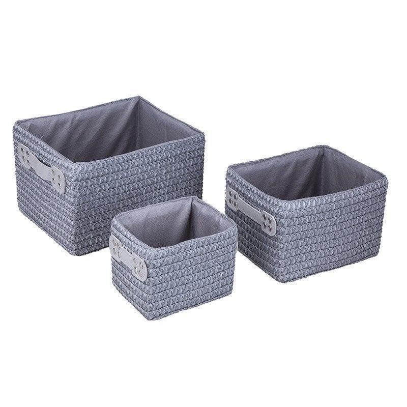 lot de 3 paniers en plastique gris galet 3 paille leroy merlin. Black Bedroom Furniture Sets. Home Design Ideas
