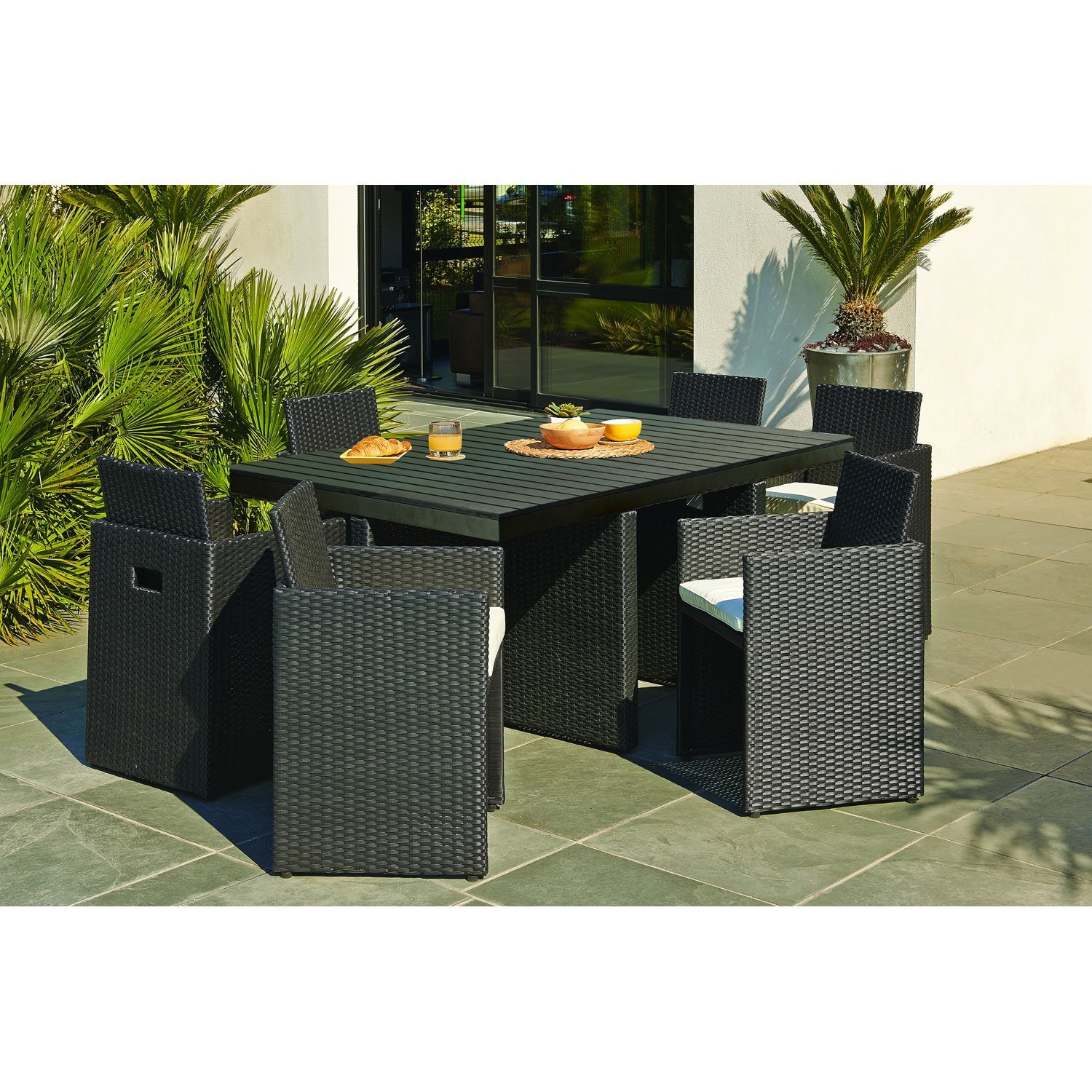 Salon de jardin encastrable r sine tress e noir 1 table 6 fauteuils leroy - Leroy merlin salon jardin ...
