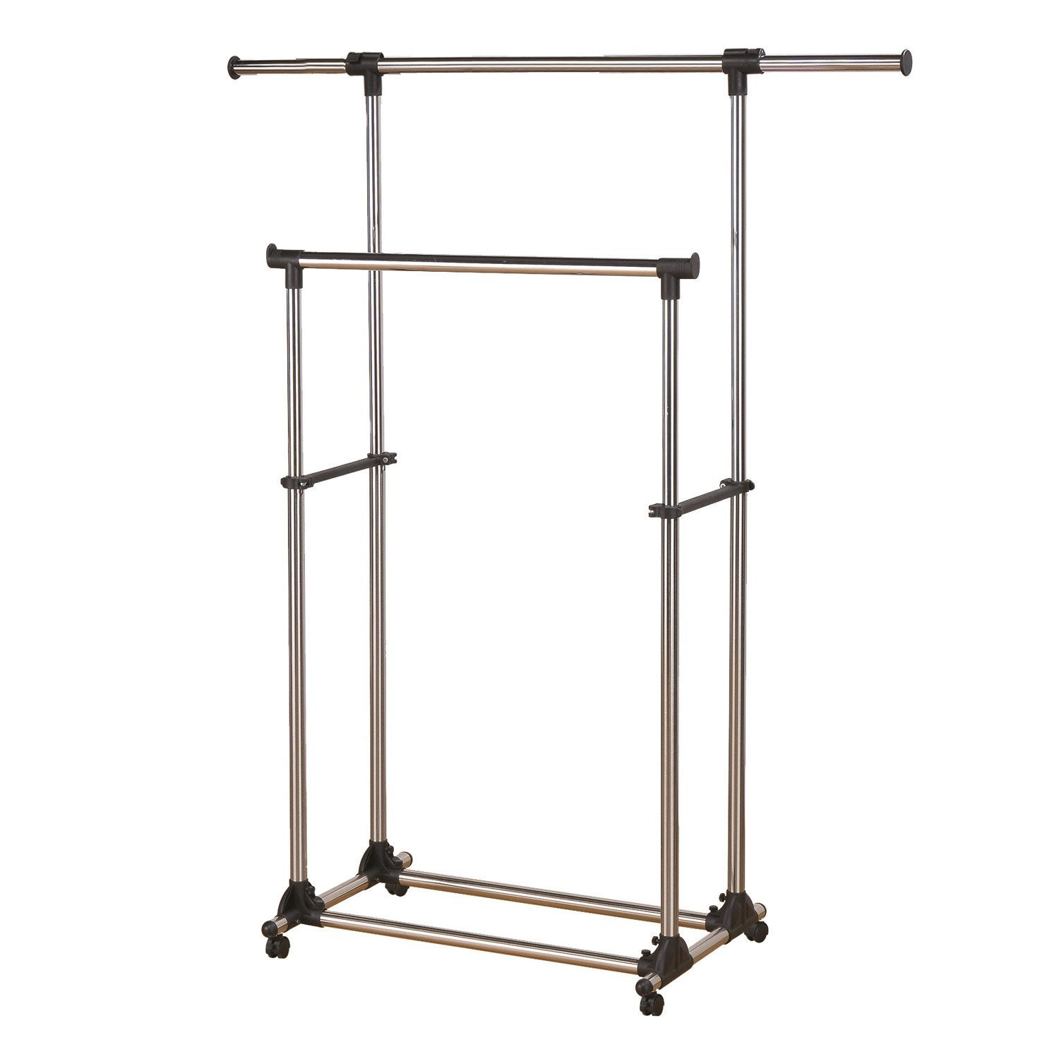 Portant extensible double barre gris acier spaceo x x cm leroy merlin - Portant leroy merlin ...