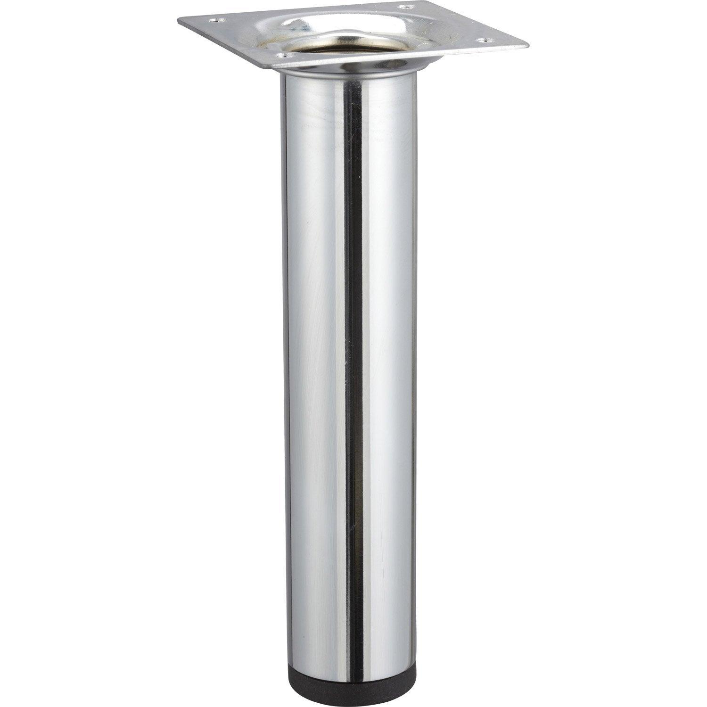 Pied de meuble cylindrique fixe acier chrom gris 15 cm - Pied reglable pour meuble ...