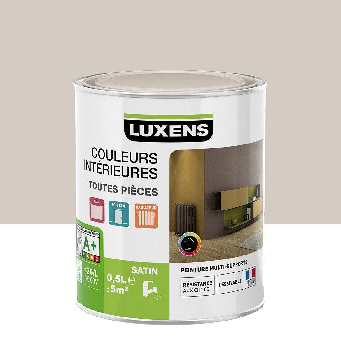 Peinture gris dor 6 luxens couleurs int rieures satin 0 5 for Peinture gris perle leroy merlin