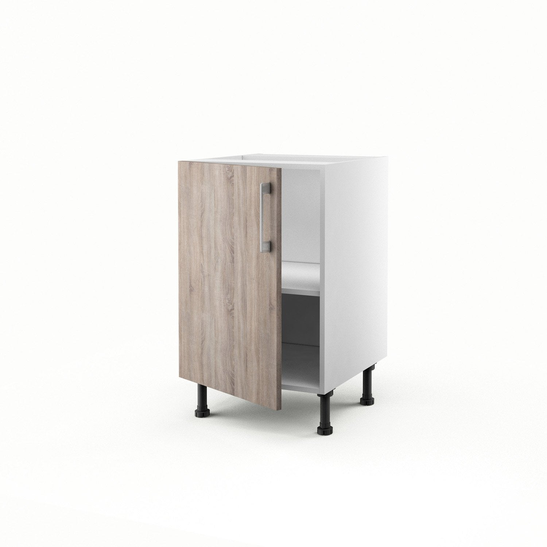 Meuble de cuisine bas d cor ch ne havane 1 porte topaze x x cm - Plinthe meuble cuisine leroy merlin ...