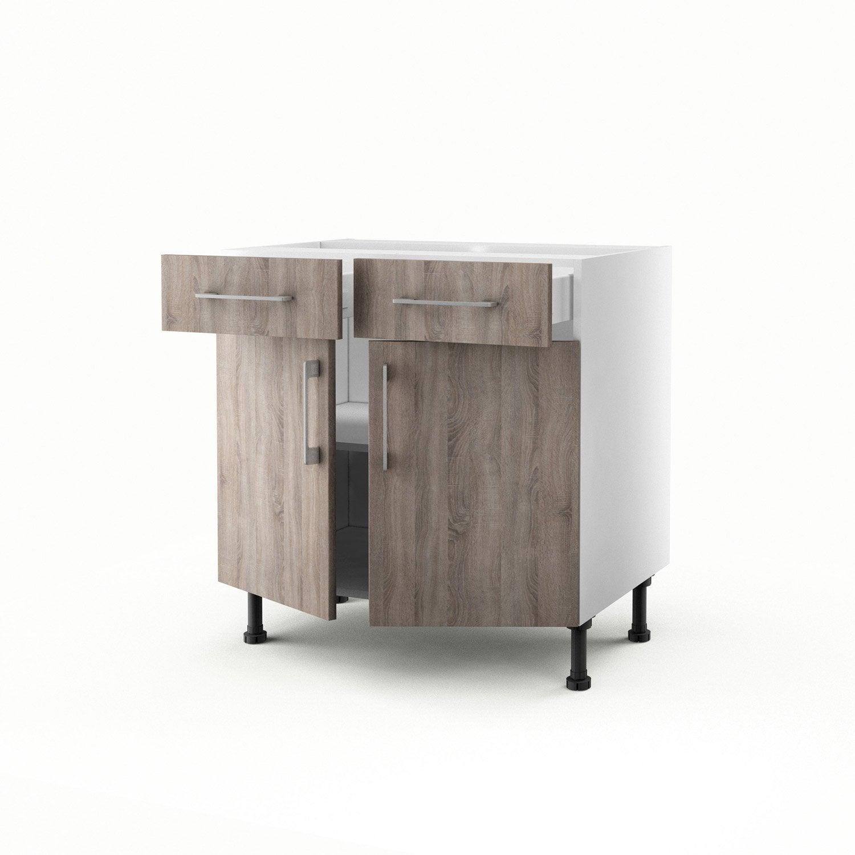 Meuble de cuisine bas ch ne gris 2 portes 2 tiroirs for Meuble 2 portes 2 tiroirs